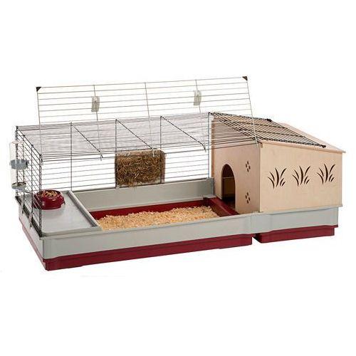OKAZJA - Ferplast Krolik 140 Plus składana klatka dla świnki, królika z wyposażeniem