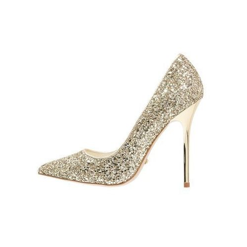 Buffalo Szpilki glitter gold