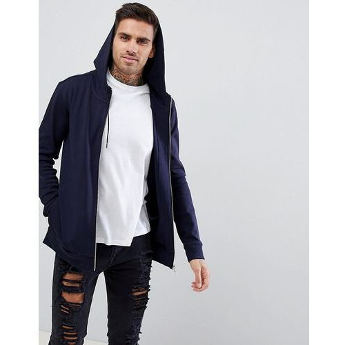 reverse logo zip through hoodie sweat in navy - navy marki Hugo