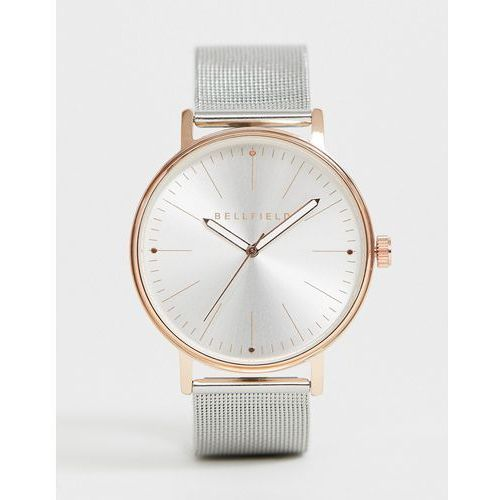 Bellfield mens silver mesh bracelet watch with rose gold tone case - Silver