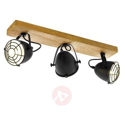 Listwa Eglo Gatebeck 49078 kinkiet lampa ścienna sufitowa spot 3x40W E14 czarna/drewno (9002759490782)