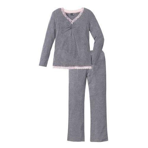 Piżama z długimi spodniami z poszerzanymi nogawkami bonprix szary melanż, kolor szary