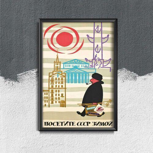 Plakat w stylu vintage Plakat w stylu vintage Radziecka wizyta ZSRR zimą