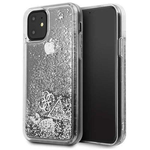 guhcn61glhflsi iphone 11 srebrny/silver hard case glitter hearts - srebrny marki Guess