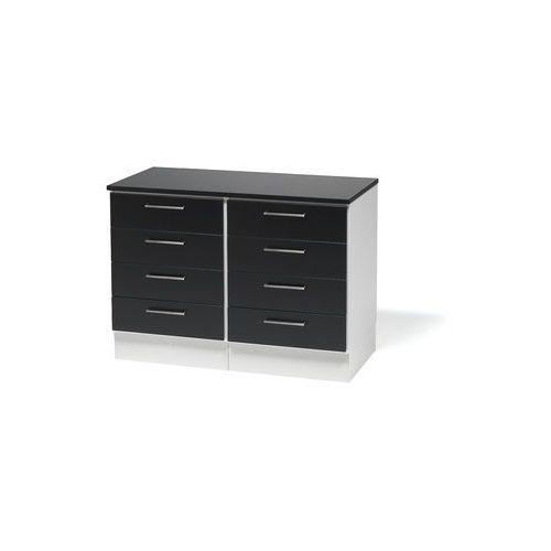 Podwójna szafka z szufladami oraz blatem. korpus: biały wykończenia: czarn marki Aj