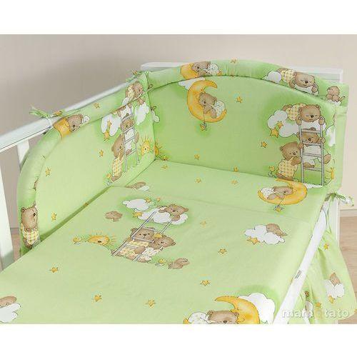 MAMO-TATO pościel 2-el Drabinki z misiami na zielonym tle do łóżeczka 70x140cm