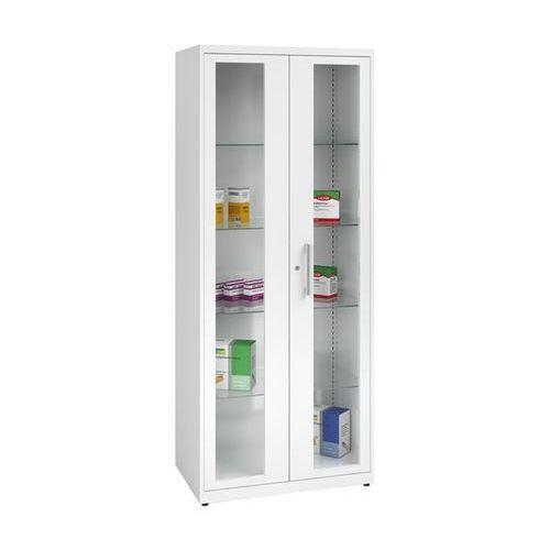 Szafka na lekarstwa, 2 drzwi skrzydłowych, 4 półki, biała. Z blachy stalowej lak