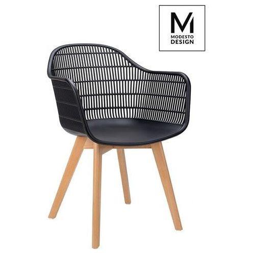 MODESTO krzesło BASKET ARM WOOD czarne - polipropylen, nogi jesionowe, PW502T.ASCH (12228609)