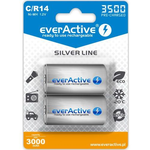 "Everactive 2x r14/c ni-mh 3500 mah ready to use ""silver line"""