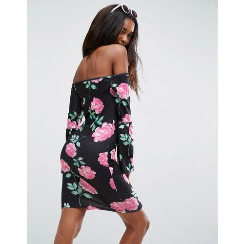 Asos  off shoulder bodycon mini dress with trumpet sleeves in rose print - multi