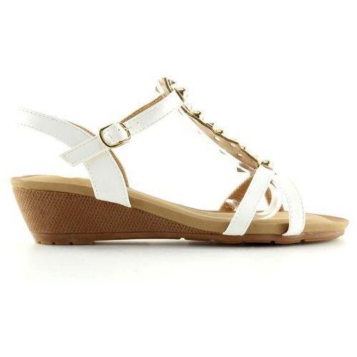 Buty obuwie damskie Sandałki na niskim koturnie białe hx-1 white