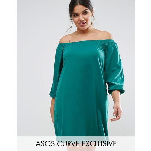 ASOS CURVE Off Shoulder Boho Mini Dress with Long Sleeves - Green
