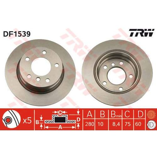 TARCZA HAM TRW DF1539 BMW E36 316I 90-93, 318IS 93-97, 325I 90-95, E46 316I 00-05, TRW DF1539