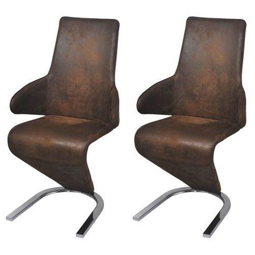 Krzesła do jadalni wspornikowe obite tkaniną 2 szt, brązowe, kolor brązowy