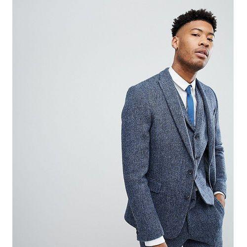 ASOS TALL Slim Suit Jacket in 100% Wool Harris Tweed In Blue Mini Check - Blue, kolor niebieski