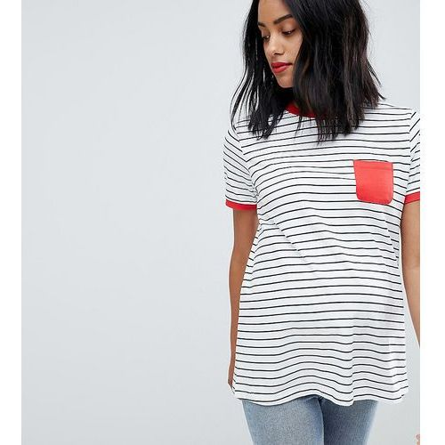 Asos design maternity stripe t-shirt with contrast pocket and contrast binding - multi, Asos maternity