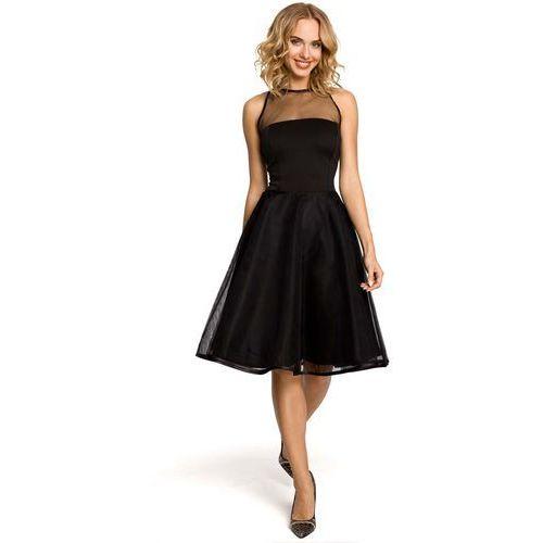 Czarna Wieczorowa Sukienka z Prześwitującym Modnie Karczkiem, kolor czarny