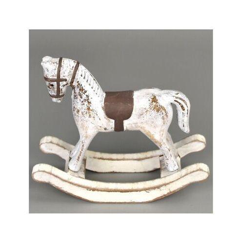 Dekoracja drewniana Koń na biegunach 13 x 11 cm, biały, 690152