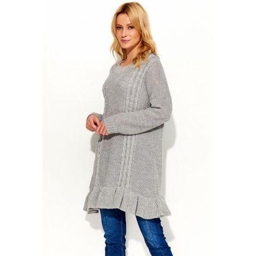 Sweter tunika model s48 grey, Makadamia