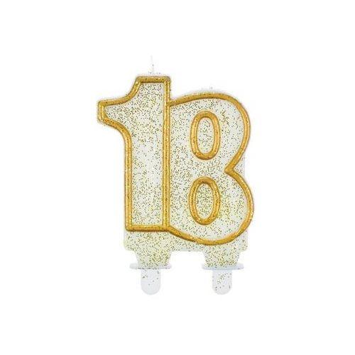 Go Świeczka na 18-tke z brokatem i złotą obwódką - 1 szt. (5901238638933)