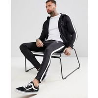 skinny poly joggers in black with side stripe - black marki Gym king