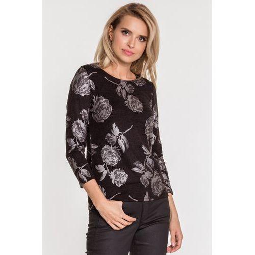 Studio mody pdb Czarna bluzka w kwiaty -
