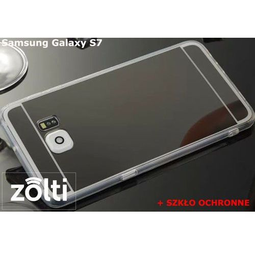 Slim mirror / perfect glass Zestaw | slim mirror case czarny + szkło ochronne perfect glass | etui dla samsung galaxy s7