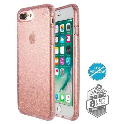 Speck Presidio Clear with Glitter - Etui iPhone 8 Plus (Gold Glitter/Bella Pink), kolor różowy