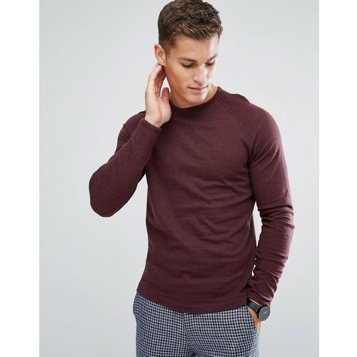 Selected homme  long sleeve t-shirt with raglan sleeve and curved hem - red