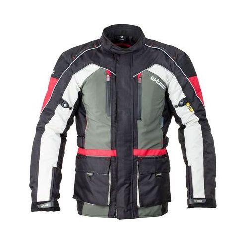 Męska długa kurtka motocyklowa W-TEC Wigstein NF-2209, Czarno-czerwono-khaki, M, 1 rozmiar
