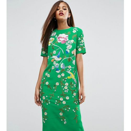bird & floral embroidered shift dress - multi, Asos tall