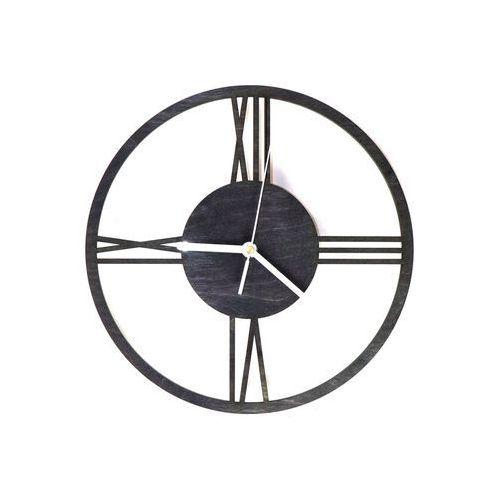 Congee.pl Drewniany zegar na ścianę rzymskie cyfry z białymi wskazówkami (5907509932342)