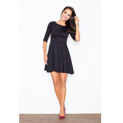 Czarna elegancka sukienka z rozkloszowanym dołem marki Figl