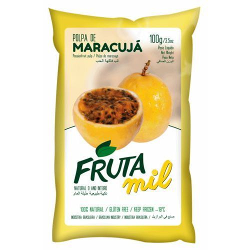 Marakuja - passiflora - męczennica puree owocowe (miąższ, pulpa, sok z miąższem) bez cukru marki Frutamil comércio de frutas e sucos ltda