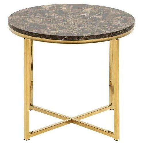 Stolik Alisma S Marble brązowy/złoty okr ągły (5713941083159)
