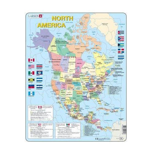 Puzzle MAXI - Mapa Severní Ameriky + vlajky/85 dílků neuveden