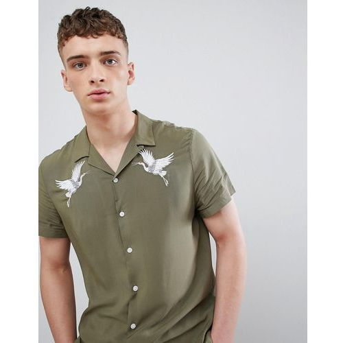 revere collar shirt with crane embroidery in khaki - green, River island, XS-XL