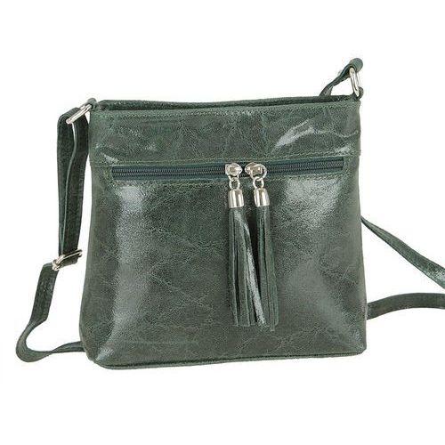 Zgrabna skórzana torebka listonoszka zielona - zielony