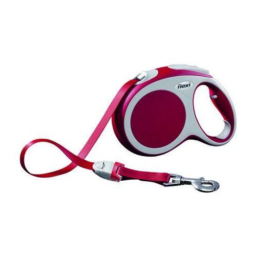 FLEXI Smycz automatyczna VARIO - taśma kolor: czerwony S 5m - do 15kg