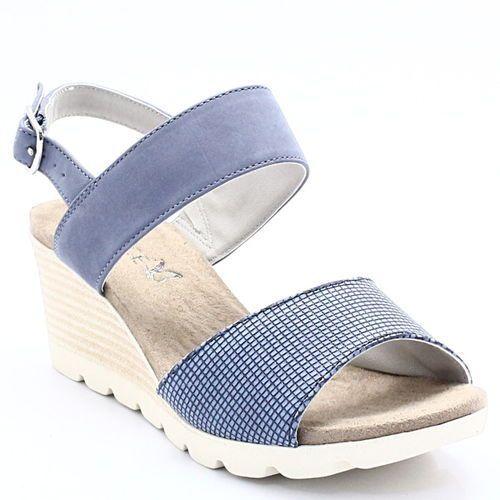 9-28701-20 blue comb - sandały ze skóry na koturnie, Caprice