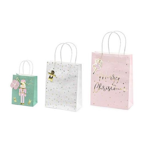 Świąteczne torebki na prezenty,mix tnp7 3szt marki Party deco