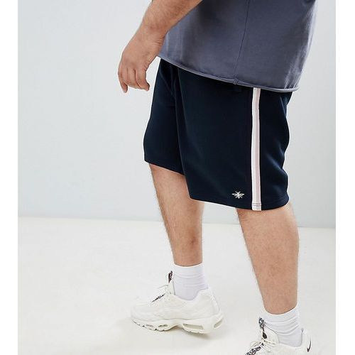 River Island Big & Tall jersey shorts with side stripe in navy - Navy