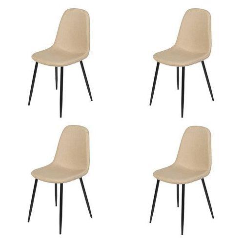 Zestaw 4 krzeseł w kolorze beżowym stalowe nogi - Cilla