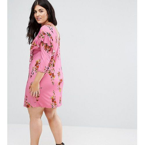Asos curve mini t-shirt dress with frill and low back in floral print - multi
