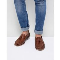 River island leather woven tassel loafers in tan - tan