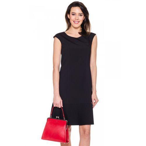 Czarna sukienka z ozdobnym plisowaniem - Sobora, 1 rozmiar