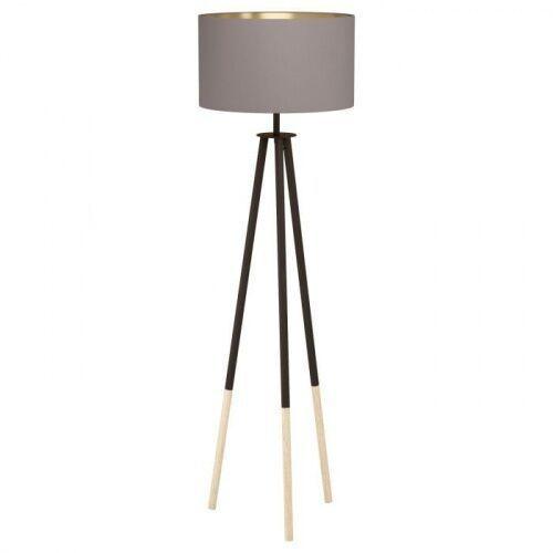 49148 BIDFORD oprawa podłogowa drewno, stal brązowy / tkanina cappuccino, złoty EGLO (9002759491482)