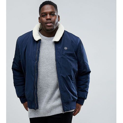 Le breve plus aviator jacket with borg collar - navy