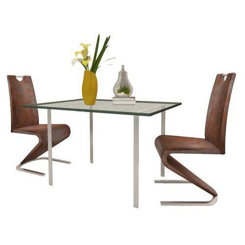 Krzesła wspornikowe do jadalni, 2 szt., sztuczna skóra, brązowe