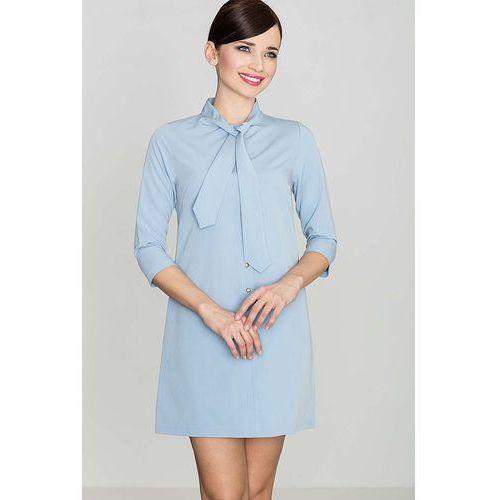 Uniwersalna Niebieska Koszulowa Sukienka z Wiązaną pod Szyją Szarfą, Uniwersalna